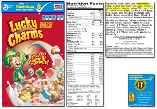 Lucky charms is loaded with sugar but it has whole grains