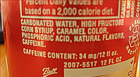 High Fructose Corn Syrup In Food Label Cola