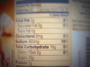 Ragu nutrition label
